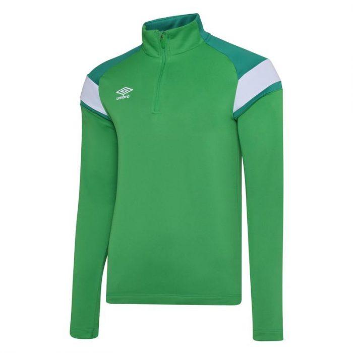 1/2 Zip Top Green & White